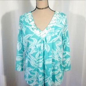 Ruby Rd pattern leafs V neck blue top. Size XL